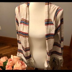 Native American print shawl cardigan large